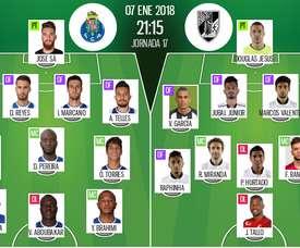 Les compos officielles du match de Liga NOS entre Porto et Vitória Guimaraes. BeSoccer