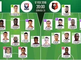 As escalações de Caen e Rennes para este jogo. BeSoccer