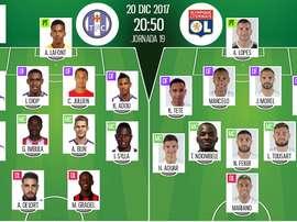 As escalações de Toulouse e Lyon para esta partida. BeSoccer