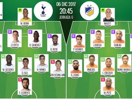 Les compos officielles du match de Ligue des champions entre Tottenham et l'APOEL. BeSoccer
