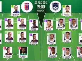 Les compos officielles du match de qualification d'Europa League entre Videoton et Bordeaux. BS
