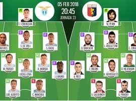 As escalações de Lazio e Genoa para este jogo. BeSoccer