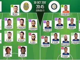 Onzes iniciais de Hellas Verona e Internazionale. BeSoccer