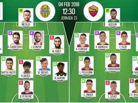 Les compos officielles du match de Serie A entre le Hellas Vérone et Rome. BeSoccer