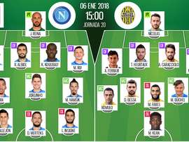 Les compos officielles du match de Serie A entre Naples et l'Hellas Vérone. BeSoccer