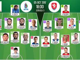 Les compos officielles du match qualificatif entre l'Azerbaïdjan et la République Tchèque. BeSoccer