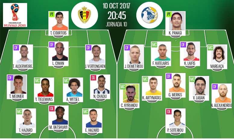 Les compos officielles du match qualificatif entre la Belgique et le Chypre du 10-10-2017. BeSoccer