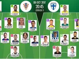 Les compos officielles du match qualificatif entre la Croatie et la Finlande. BeSoccer