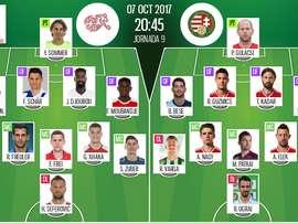 Les compos officielles du match qualificatif entre la Suisse et la Hongrie. BeSoccer