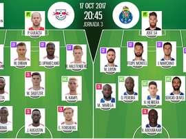 Os 11's de RB Leipzig e FC Porto para este embate da Liga dos Campeões. BeSoccer