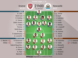Les compositions officielles : Arsenal - Newcastle. besoccer