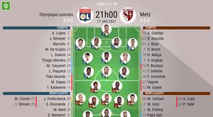 Les compositions officielles : Lyon - FC Metz. besoccer