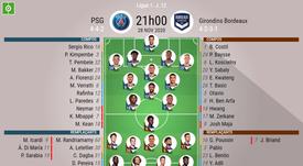 Les compositions officielles : PSG - Girondins de Bordeaux. afp