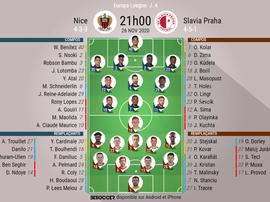 Les compositions officielles Nice - Slavia Prague. besoccer
