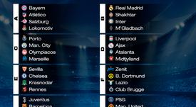 Tous les groupes de la phase de groupes de la Ligue des champions 20-21. BeSoccer