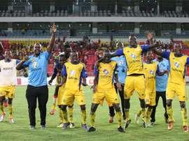 Les joueurs du Al Merreikh après leur victoire contre le Sony Ela Nguema. AFP