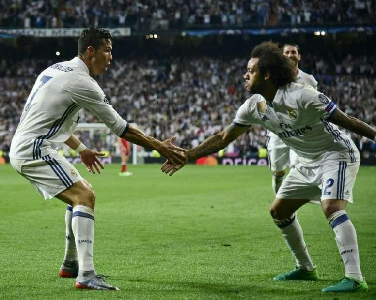 Les anciens coéquipiers du Real Madrid, Cristiano Ronaldo et Marcelo. AFP