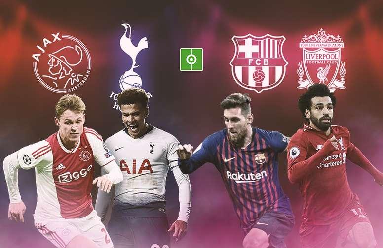 Les quatre qualifiés pour les demies de Ligue des champions 2018-19. BeSoccer