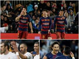 Les trios d'attaque du Barcelone, Real Madrid et PSG. BeSoccer