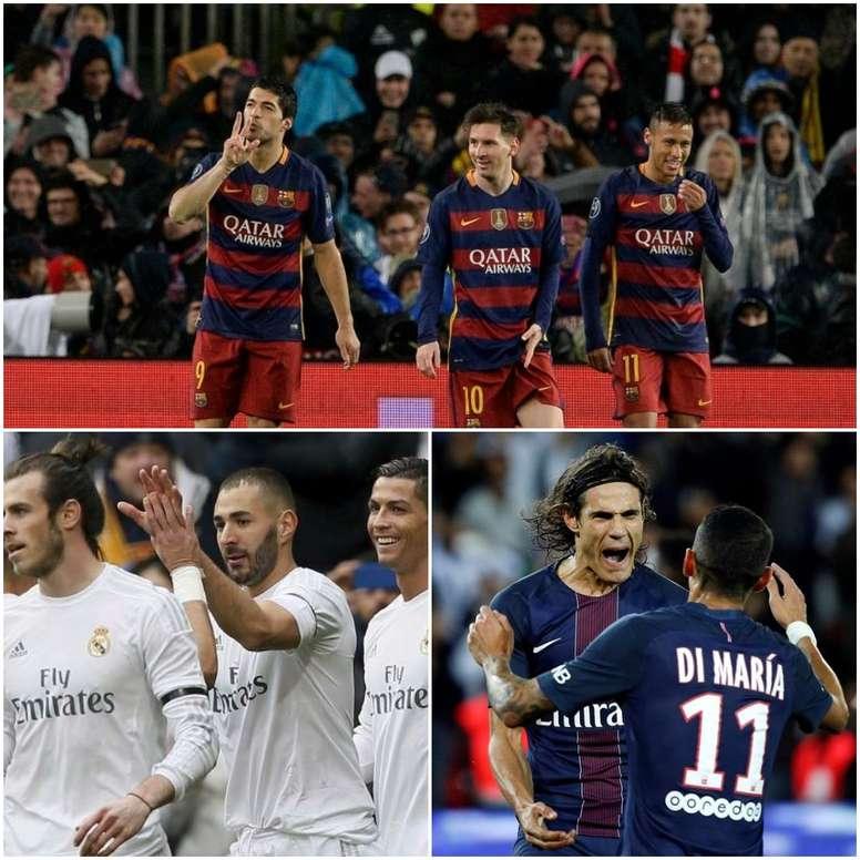 Les trios d'attaque du Barcelone, Real Madrid et PSG. BeSoccer