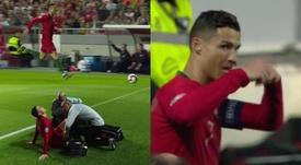 Cristiano se marchó lesionado a la media hora. Captura/Cuatro
