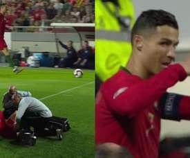 Cristiano Ronaldo teve de sair lesionado. Capturas/Cuatro
