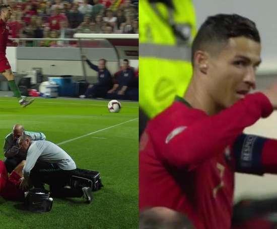 Cristiano Ronaldo had to leave the game early. Capturas/Cuatro