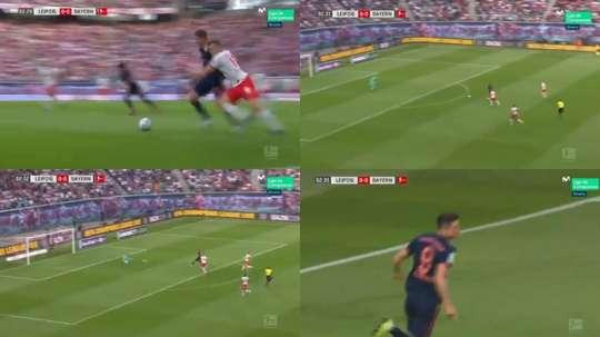 Lewandowski aprovechó un gran pase de Müller para adelantar al Bayern en Leipzig. Captura/Movistar+