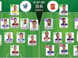 Onces iniciales del Liechtenstein-España clasificatorio para el Mundial. Besoccer