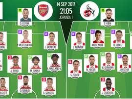 As escalações de Arsenal e Colônia para este jogo da Europa League. BeSoccer