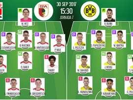 As escalações de Augsburgo e B. Dortmund, para esta jogo da Bundesliga. BeSoccer