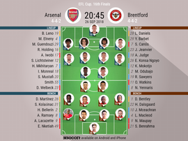 Lineups for Arsenal v Brentford. BeSoccer