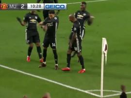 Lingard festeja o segundo do United. Twitter