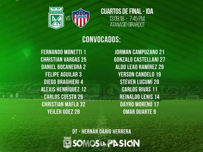 Campuzano entró en la lista para medirse a Junior. AtleticoNacional