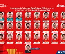 Os convocados da Espanha para os seus próximos particulares. SeFútbol