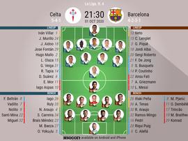 Celta v BArcelona, Primeira Division 2020/21, 1/10/2020, J.4 - Official line-ups. BESOCCER