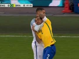 Livemore held Dani Alves in a headlock. Twitter/ESPN