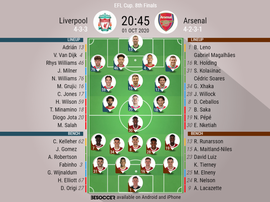 Liverpool v Arsenal, EFL Cup 2020/21, 1/10/2020, Last 16 - Official line-ups. BESOCCER