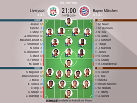 Liverpool v Bayern Munich, Champions League, Round of 16, 1st leg: Official line-ups. BESOCCER