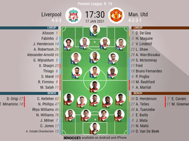 Liverpool v Man Utd. Premier League 2020/21. Matchday 19. Official-line-ups. 17/01/2021