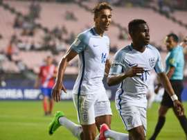 Lookman celebrates for England. AFP