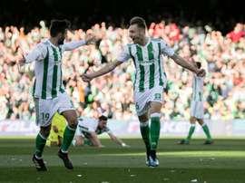 Festejos do primeiro gol do Betis. Captura/SportsCenter