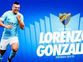 Lorenzo González, nuevo delantero para Víctor. Twitter/MalagaCF