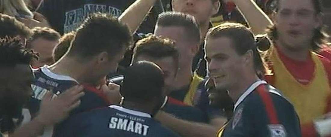 Los futbolistas de Indy Eleven celebran el gol de Ubiparipovic que les clasificaba para la final de la NASL. Twitter/NASLOfficial