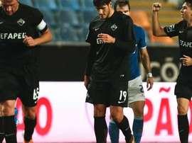 Los futbolistas del Académica festejan uno de los goles anotados al Belenenses. Twitter