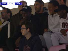 Dembélé et Todibo, en tribunes pour assister au Barça-Lyon. RMCSport