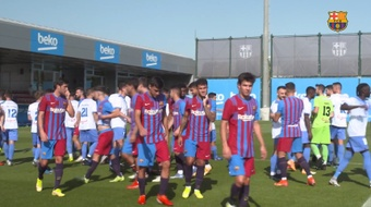 Coutinho (c) marcó en esta suerte de amistoso contra la AE Prat. Dugout