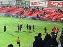 Los futbolistas del Huesca celebran el tanto inicial de Machís al Leganés. Twitter