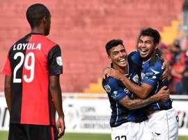 Los futbolistas del Independiente del Valle celebran uno de los tantos anotados ante el Melgar en la Copa Libertadores. Twitter