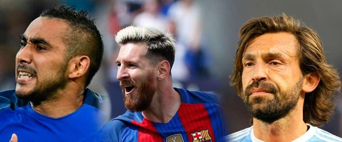 Los futbolistas Leo Messi, Dimitri Payet y Andrea Pirlo, tres de los mejores lanzadores de faltas según el FIFA17. BeSoccer